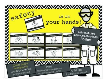 These Science Safety Posters are intended to stand out in your classroom to illustrate the importance of safety within a science setting. We selected the yellow background because it's intense enough to grab the eye, yet light enough to allow the black letter to pop out. These roadside warning signs help students understand science safety rules and provide a quick-fun visual reference of those rules.