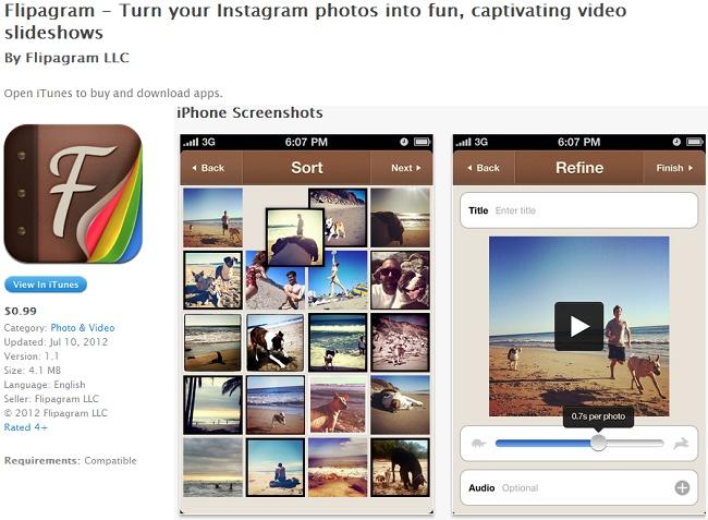 Flipagram crée des slideshows à partir de vos photos Instagram.