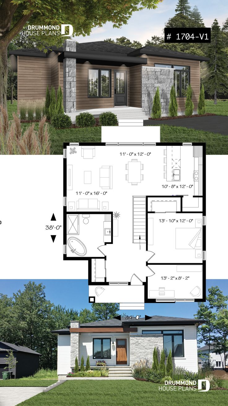Modern rustic house plan, 9' ceiling, open concept ...