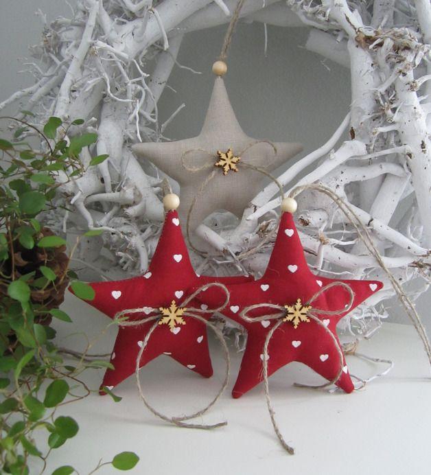 Baumschmuck: Stoff - Weihnachtsbaumschmuck im Landhaus - Stil - ein Designerstück von Feinerlei bei DaWanda