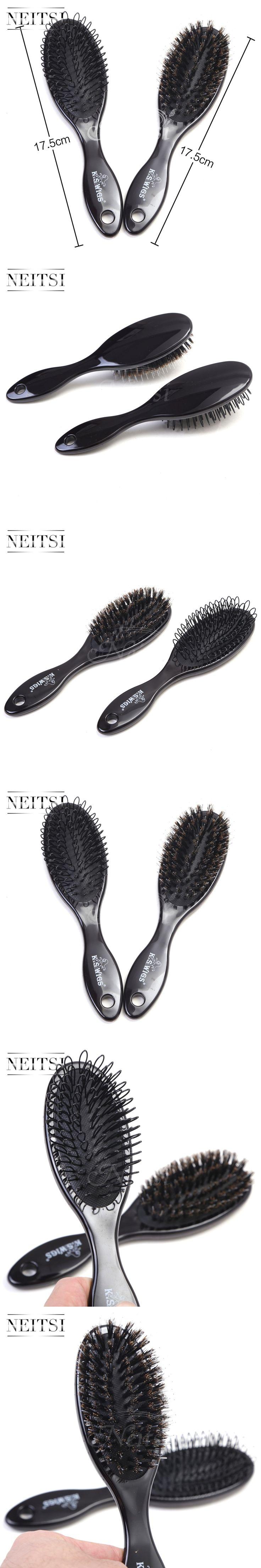 Neitsi Professional 1PC Boar Bristle Hair Brush & 1PC Plastic Hair Brush For Human Hair Extensions 2PCS/Set