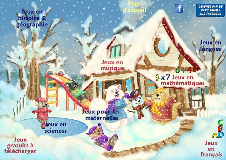 Les jeux gratuits en ligne Cat's Family en français, mathématiques, histoire géographie, anglais, musique...