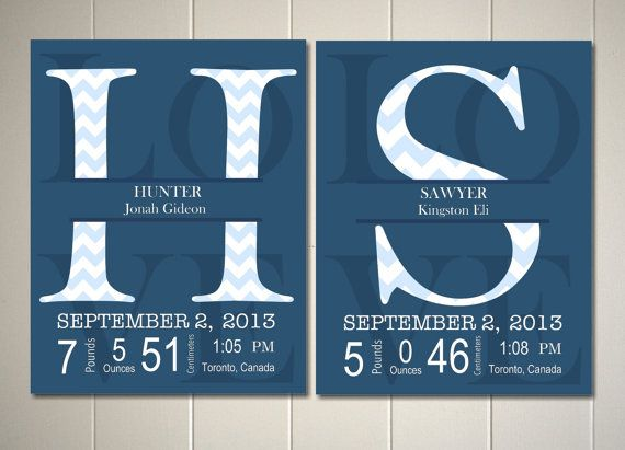 Twins nursery art, twin boys nursery, shared boys room, baby boy nursery, brothers wall art, nursery monogram, baby birth details wall art by PicabooArtStudio, $25.99