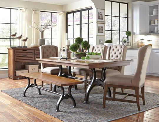 The Arlington Trestle Table features a curved metal industrial style  trestle base with fixed tabletop in a rich  cobblestone brown finish 27 best Dining Room Decor images on Pinterest   Art van  Room  . Arlington Round Sienna Pedestal Dining Room Table W Chestnut Finish. Home Design Ideas