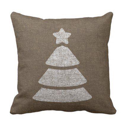 Reindeer Distressed Burlap Throw Pillow - merry christmas diy xmas present gift idea family holidays