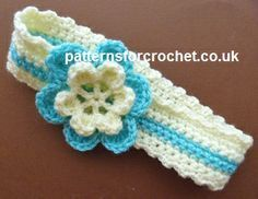 Free PDF baby crochet pattern for two colour headband http://www.patternsforcrochet.co.uk/2-color-headband-usa.html #patternsforcrochet