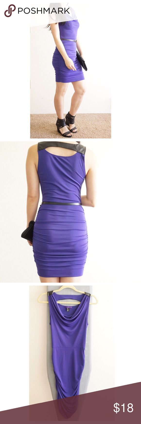 Purple body con dress Sexy purple dress that compliments your shape perfectly. Only worn once. Easy to maintain, doesn't wrinkle easily. US size S, true to size. I'm 5'4. Forever 21 Dresses Midi