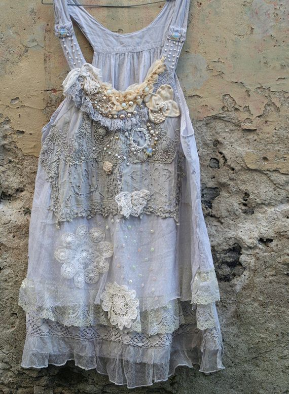 RESERVED for JOANNE--    Romantic light cotton layered lace tunic in shades of smoky white, palest gray, cream and ivory is reworked with lovely