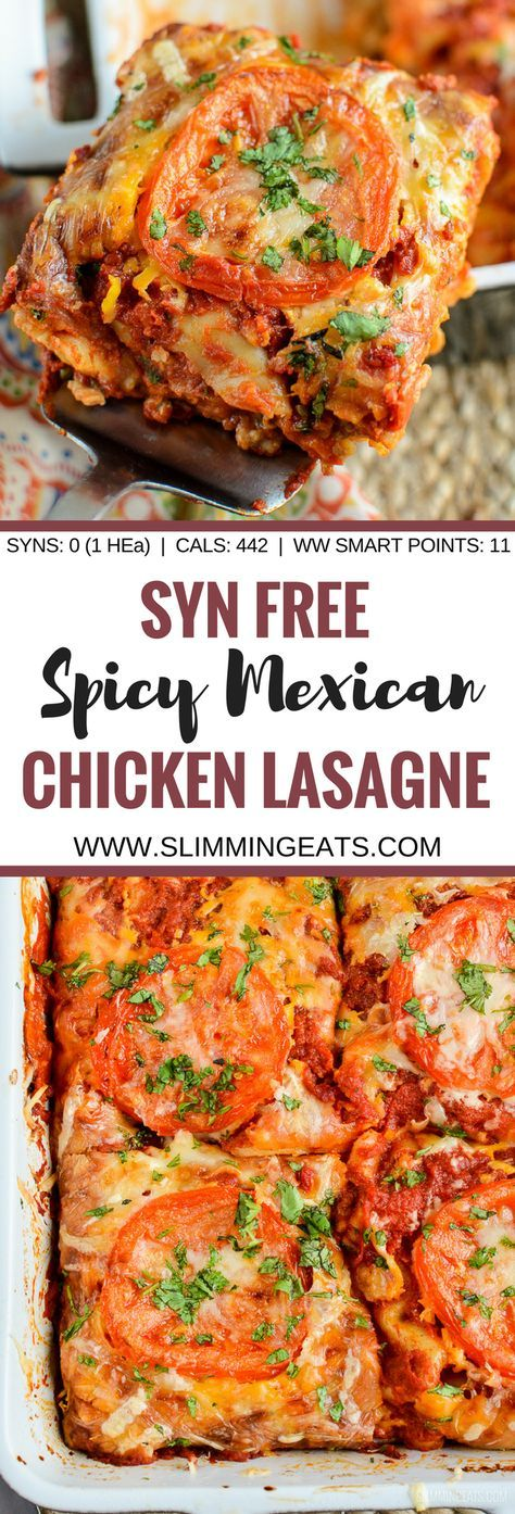 Syn Free Spicy Mexican Chicken Lasagne - a family friendly recipe, to dig into and enjoy. It is great with a variety of different sides.