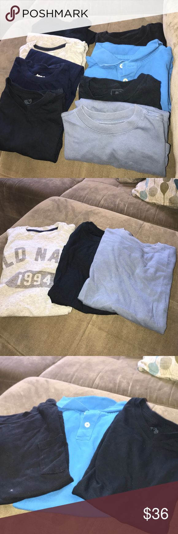 BOYS BUNDLE OF (8) BOYS BUNDLE OF (8).     •Gentle Used.                   •Great Condition    •There all size 8 (M). And there's 8 in total.     •(3) Fruit &Loom  •(2) Faded Glory •(1)Circo •(1) Cherokee •(1) Old Navy  total of 8. Shirts & Tops Tees - Short Sleeve
