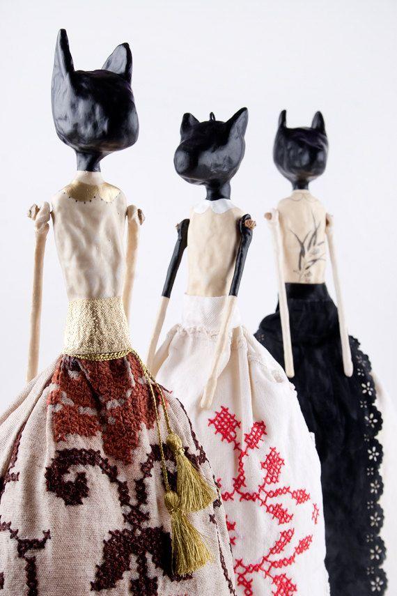 Clay Cat Art Doll, Great Animal Sculpture, Mixed Media Doll, Folk Inspired Figurine, Clay Decor, Black Cat Doll,3 Dimensional Doll,Shani
