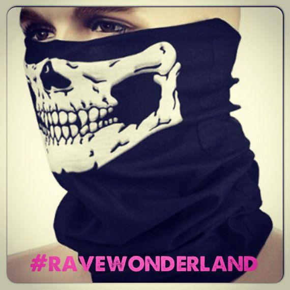 Skeleton face Mask gothic emo silkscreen by RaveWonderlandShop