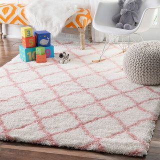 Wonderful NuLOOM Soft And Plush Cloudy Shag Trellis Kids Nursery Baby Pink Rug (5u0027 X  8u0027) (Baby Pink), White, Size 5u0027 X 8u0027 (Polyester, Geometric)