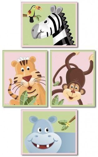 $24.90 SET OF 4 NURSERY ART PRINTS /  SAFARI JUNGLE ANIMALS   Smileywalls - Children's on ArtFire