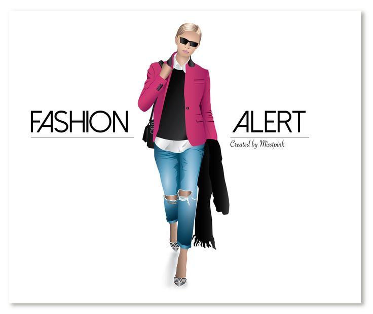 Fashion Alert! @it_girls pink blazer inspiration. Inspired by @instalmanya #fashionalert #fashionillustration #fashion #pinkblazer #torn #jeans #strips #heels #mystyle #loveit