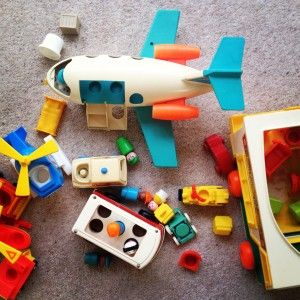 Vintage Fisher Price toys - retro Little People toys from the 1970s (who had the plane?)