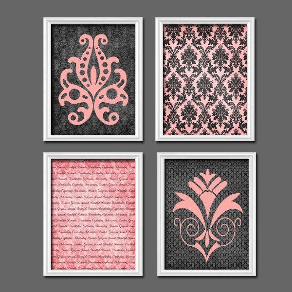 romance pink black grey damask artwork set of 4 quad. Black Bedroom Furniture Sets. Home Design Ideas