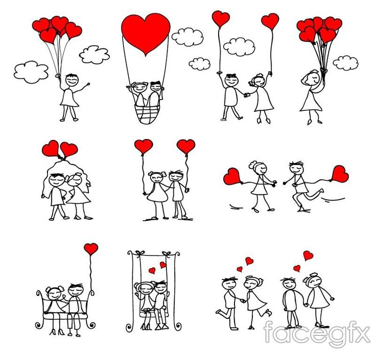 Hand-painted love couple vector