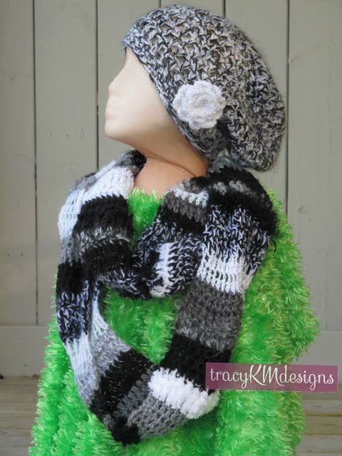 Custom coordinating slouch hat and infinity scarf!  The scarf includes stripes of reflective yarn.