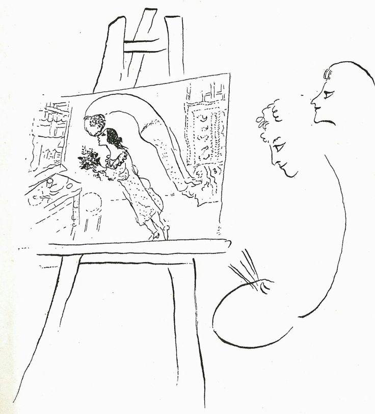 """Un disegno di Chagall (con il quadro """"Il compleanno"""") per il libro della moglie Bella """"Come fiamma che brucia"""""""