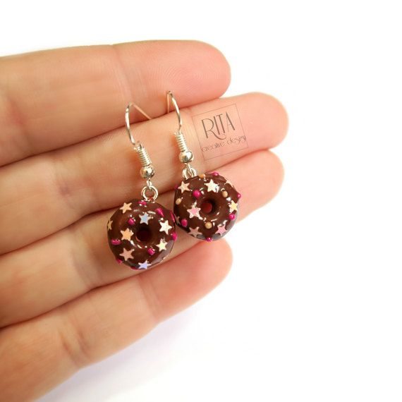 Chocolate Doughnut Earrings with Sprinkles by RITAcreativedesign
