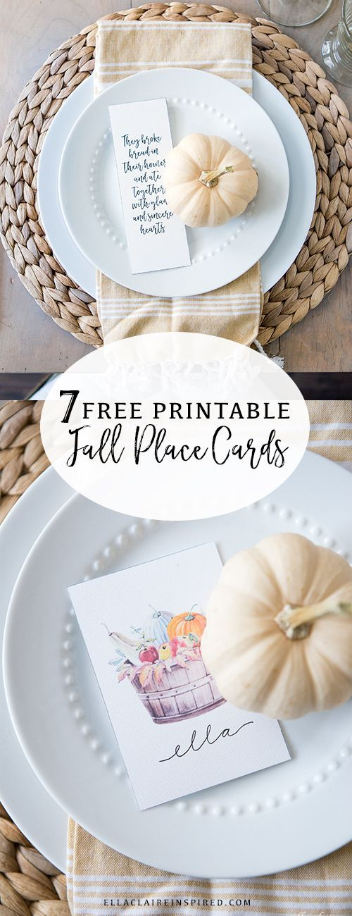printable wedding place cards vintage%0A     Free Fall Printables to Decorate and Entertain  Fall Place CardsThanksgiving