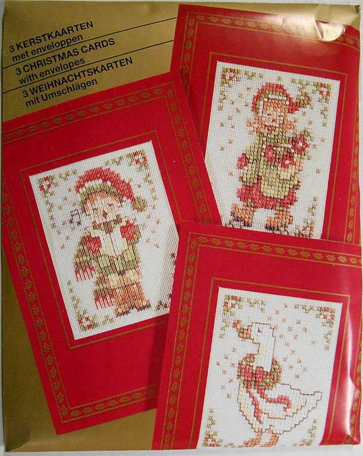 The designs are a little boy singing carols (left), a little girl carrying flowers (top right), and a goose with a garland of flowers (lower right). Each design is 6 x 8 cm in size, and each card is 10.2 x 15 cm in size. | eBay!