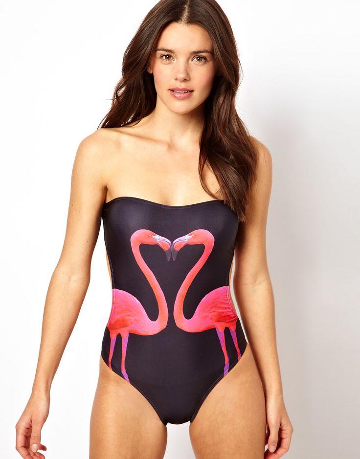 ASOS Flamingo Bandeau Swimsuit
