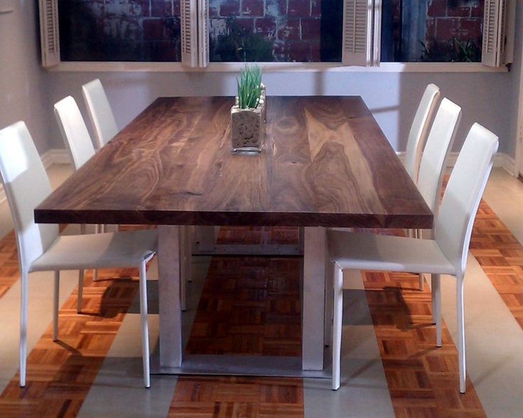 leather dining chairs with walnut dining table
