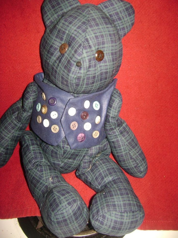Button Joined Teddy Bear Blue Plaid Fabric Soft Stuff Home