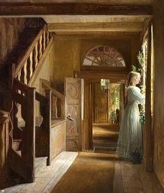 Georg Nicolaj Achen ~ Interior with Woman in White Dress ~ (Danish: 1860-1912)