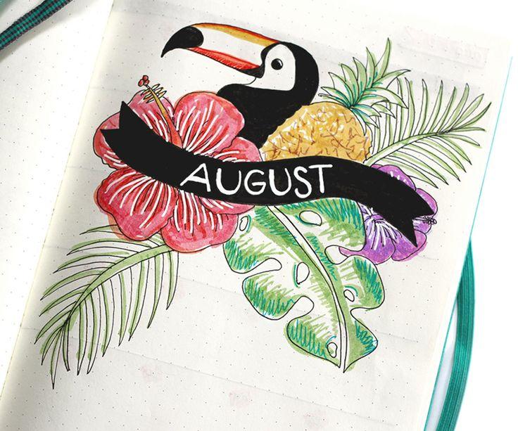 August Bullet Journal Titelseite | Die errötende Ananas