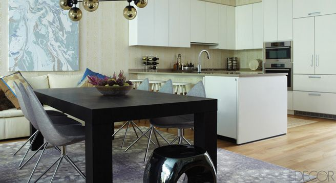 doing a bigger dining space in a smaller semi-open kitchen like a lot of apartment/condos have #elledecor