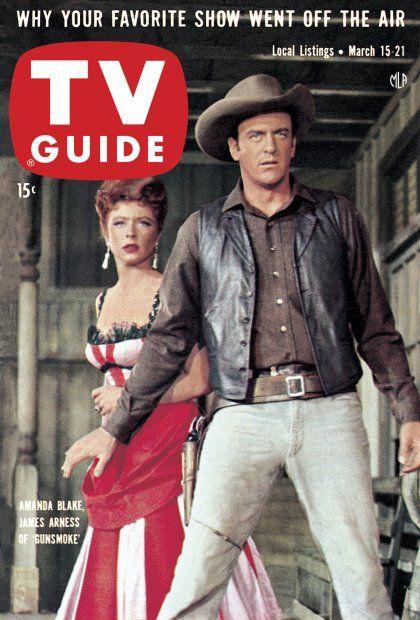 "TV Guide, March 15, 1958 - Amanda Blake and James Arness of ""Gunsmoke"""