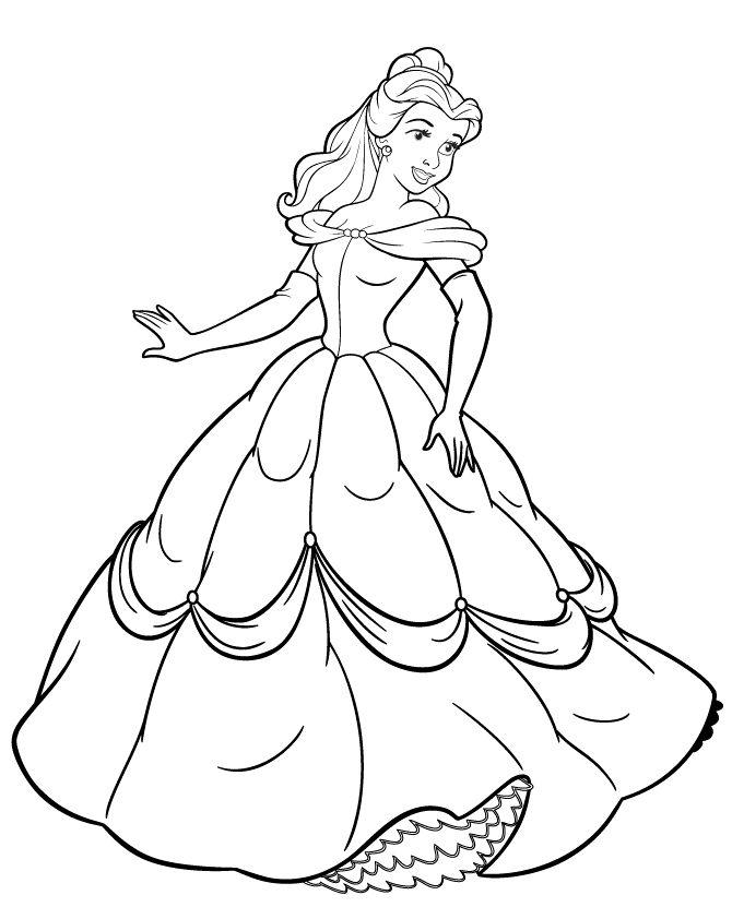 disney princess beatifull and cute coloring page - Baby Princess Belle Coloring Pages