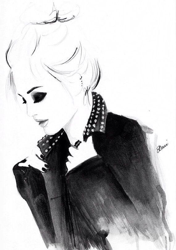 Illustration de mode aquarelle intitulée Punky par FallintoLondon