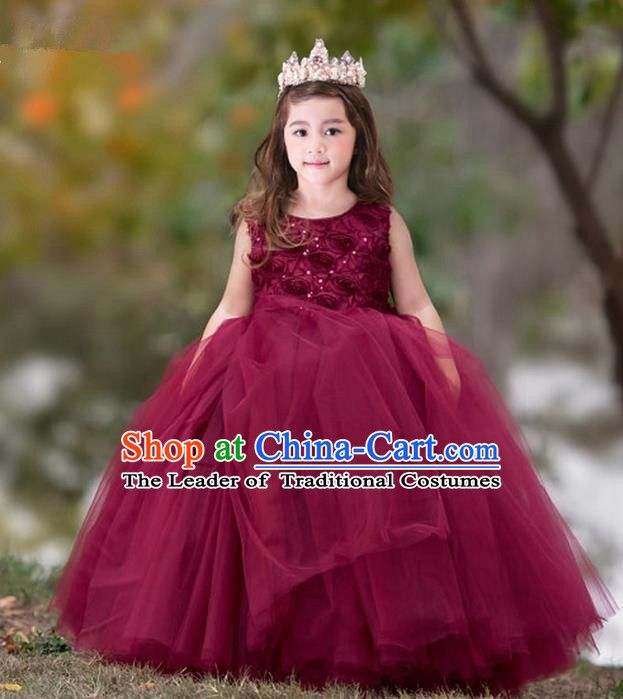 53a1690390df Formal Dress · Top Grade Compere Professional Performance Catwalks Costume,  Children Chorus Flower Fairy Wine Red Big Swing