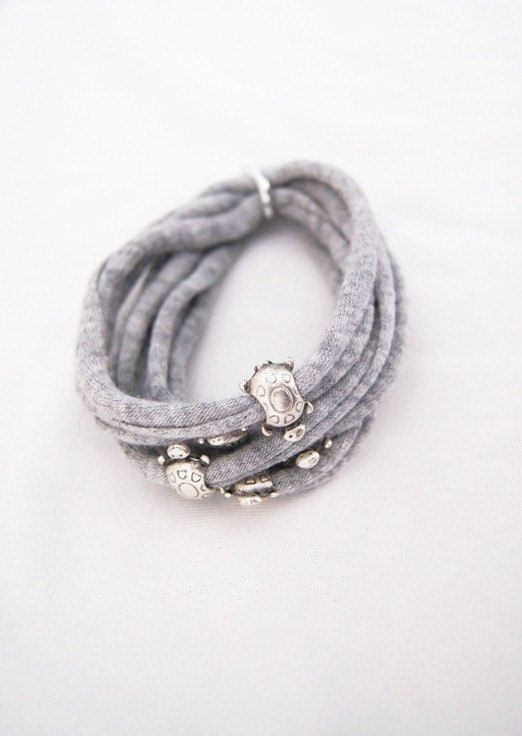 T-Shirt Bracelet - Gray wrap bracelet. Statement bracelet from Tshirt yarn - EcoFriendly - turtle