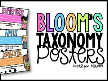Fun, colorful, and student-friendly posters for your classroom!Check the preview to see what is inside!Posters Include:-Bloom's Taxonomy-Remember-Understand-Apply -Analyze-Evaluate-CreateThank you!!