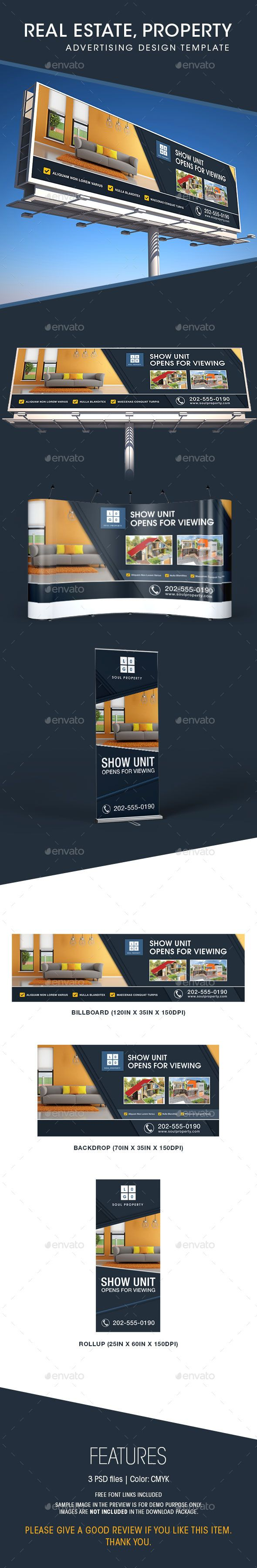 Real Estate - Billboard, Backdrop & Rollup Design Template #design Download: http://graphicriver.net/item/real-estate-billboard-backdrop-rollup-design/11580370?ref=ksioks
