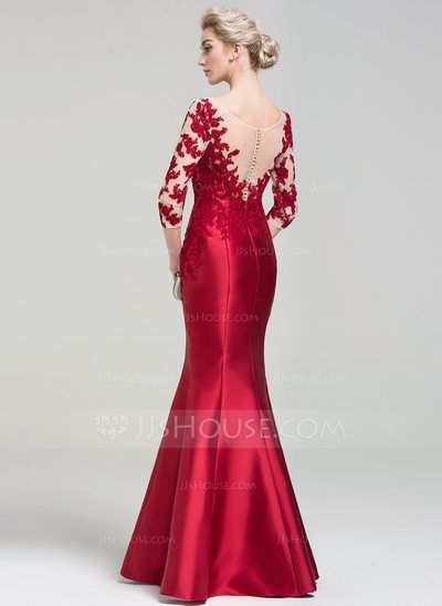 Trumpet/Mermaid Scoop Neck Floor-Length Zipper Up Covered Button Sleeves 3/4 Sleeves No Burgundy Winter Spring Summer Fall General Plus Satin Height:5.7ft Bust:33in Waist:24in Hips:34in US 2 / UK 6 / EU 32 Evening Dress