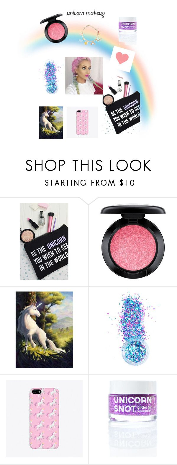 """""""unicorn make-up😛"""" by arianna2004 ❤ liked on Polyvore featuring beauty, Rock On Ruby, MAC Cosmetics, In Your Dreams, FCTRY and Forever 21"""