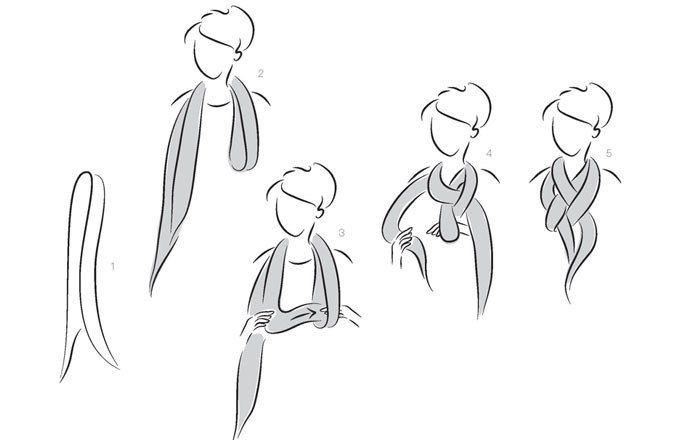 Der geflochtene Knoten - Tücher binden - Hübsch wie ein geflochtener Zopf ist dieser Knoten. Und so geht's: 1. Die beiden Enden des Tuchs übereinander legen 2. Das halbierte Tuch über den Hals legen, die Enden rechts, die Schlaufe links vom Hals...