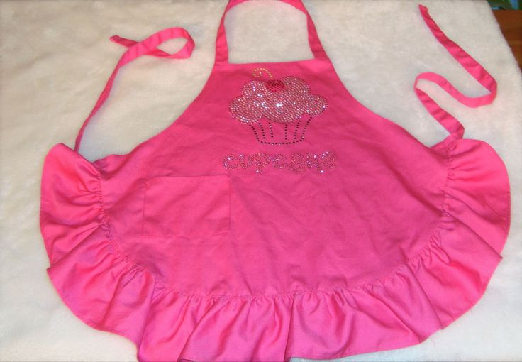 Cute Girl's Pink Ruffled Cupcake Sequin Design Kitchen Cooking Baking Bib Apron #Unbranded #Contemporary