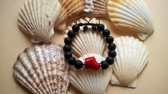 Shamballa bracelet Onyx and Coral bracelet gift for by Maryolla