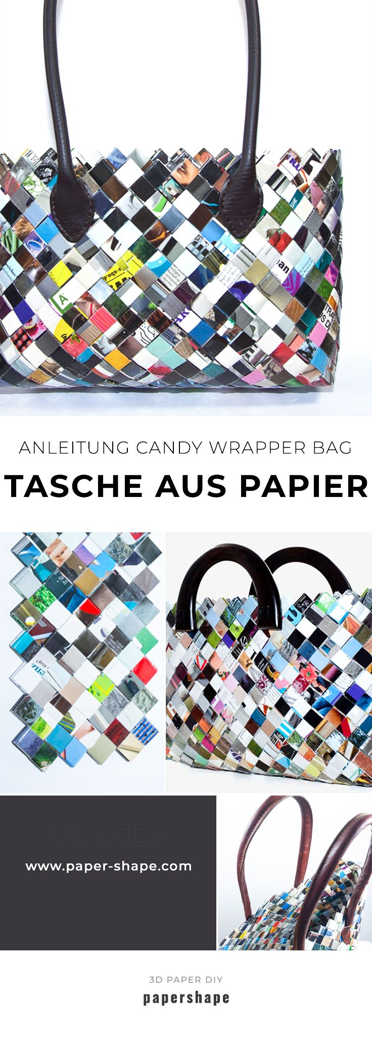 Make bags yourself from magazines (Candy Wrapper Bag)
