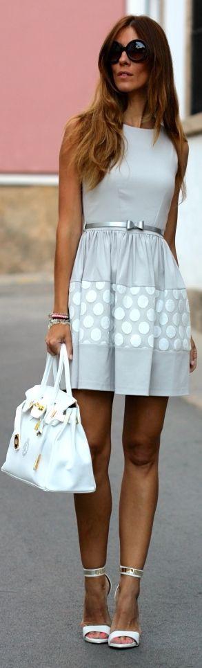 Kuka & Chic Grey And White Belted Dot Accent Skater Dress by Like A Princess Like.... Kuka