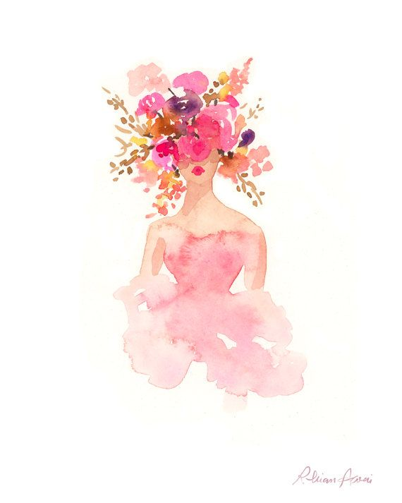 Fashion Illustration Print – Watercolor Fashion Sketch – Flower Crown – Home Decor – Couture – Floral Print – Pastels by Rhian Awni on