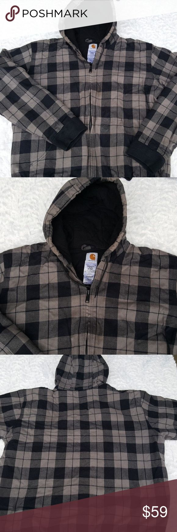 Mens Carhartt XL Tall Black & Gray Plaid Coat Mens Carhartt XL Tall Black Gray Plaid Heavy Winter Jacket Coat with Hood  Type: Mens Outerwear Style: Jacket / Coat Brand: Carhartt Material: 100% Cotton. Lining 100% Polyester Color: Black, Gray  This is a thicker, winter style coat / jacket Carhartt Jackets & Coats