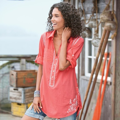 """A soft cotton tunic gets embroidered all over. Shirttail hem, buttoned cuffs, and embroidered back yoke with box pleat. Hand wash. Imported. Sizes S (4 to 6), M (8 to 10), L (12 to 14), XL (16). Approx. 35-1/4""""L."""
